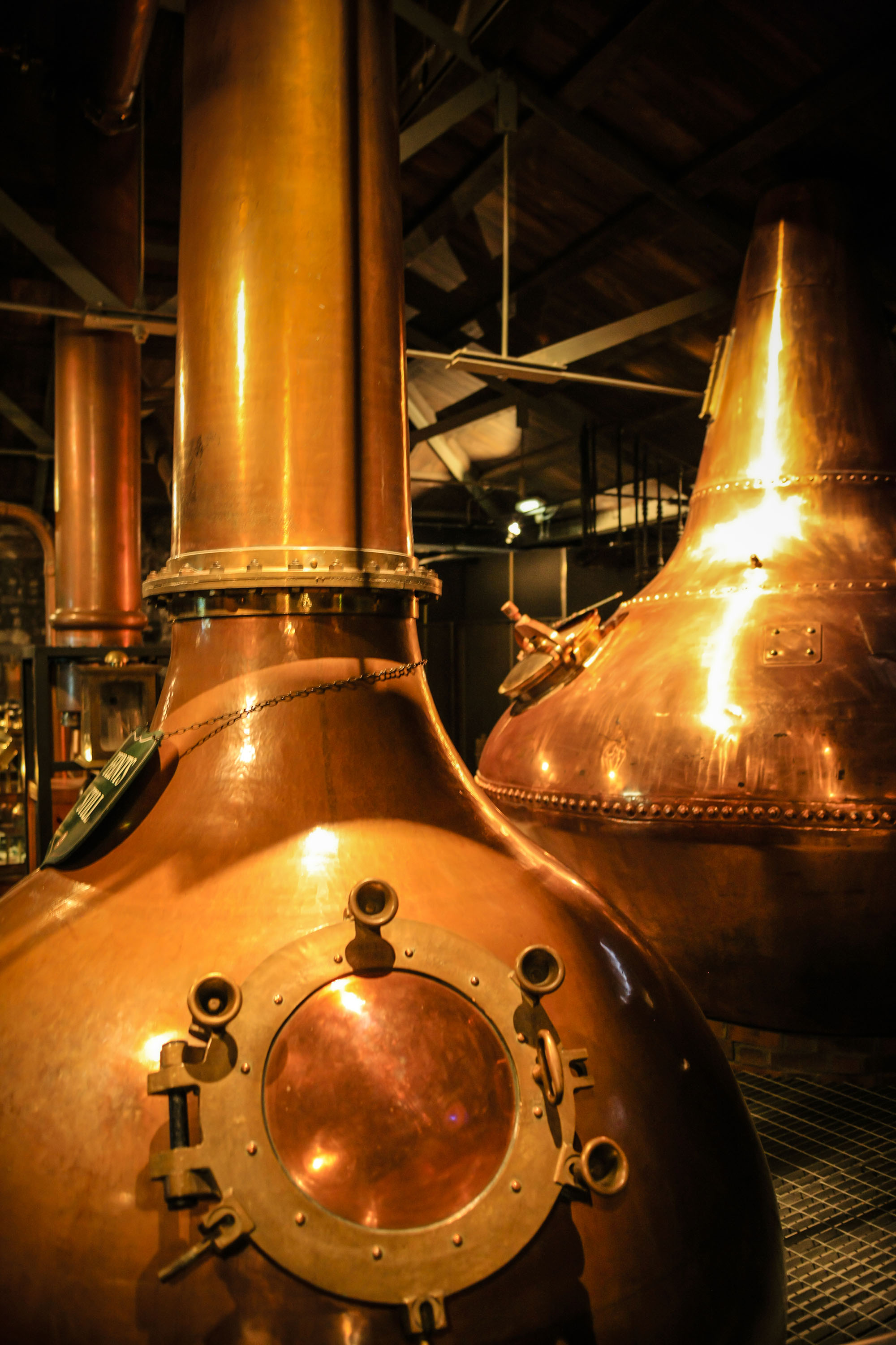 Copper fermentation vats at an Scottish Whiskey distillery